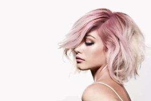 Mallory Cook Jawline Bob Hair Style in Pink Hombre