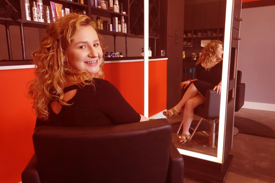 Jada Bliss Hairstylist at #MMCstyle Salon in Downtown Madison WI (coral overlay 900x600)